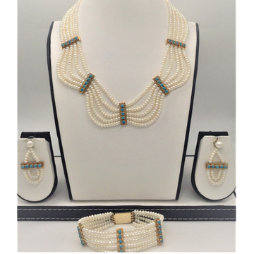 Freshwater white flat pearls and turquoise patti 5...