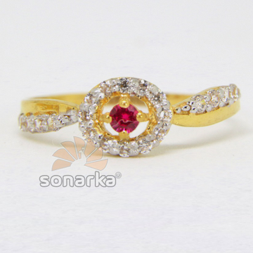 22ct 916 CZ Diamond Yellow Gold Ladies Ring