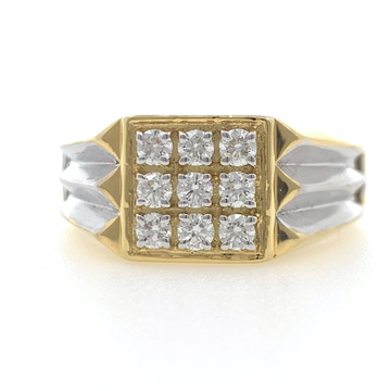 18kt / 750 yellow gold sword fancy handmade diamond gents ring 9gr11