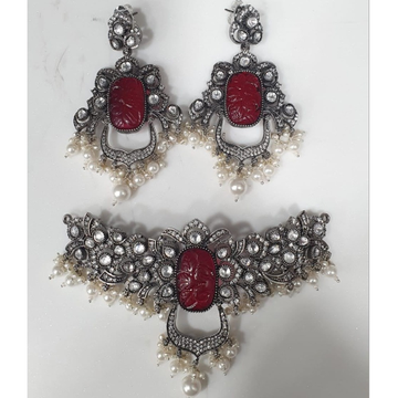 925 Pure Silver Necklace With Carved Ruby And Kund...