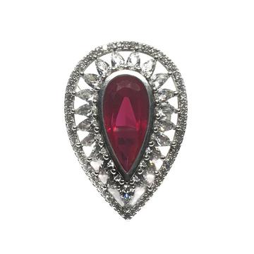 925 Sterling Silver Dark Pear Cut Pink Diamond Rin...