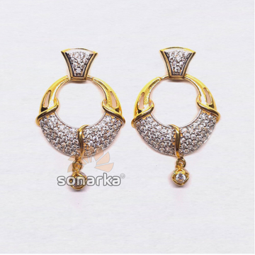 22KT Gold Round Shape CZ Diamond Earings