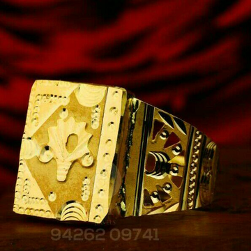 Attractive Designer Plain Gold Gents Ring