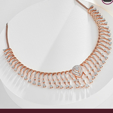 22kt, 916 Hall-Marked, rose gold modern victorian Design real diamond Necklace For Women Jkn026