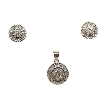 925 Sterling Silver Round Shaped Pendant Set MGA - PTS0108