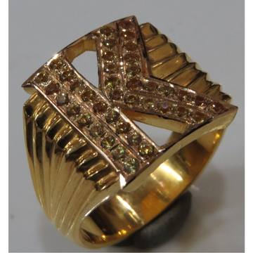 22kt gold close setting CZ personlised K initial Gents ring
