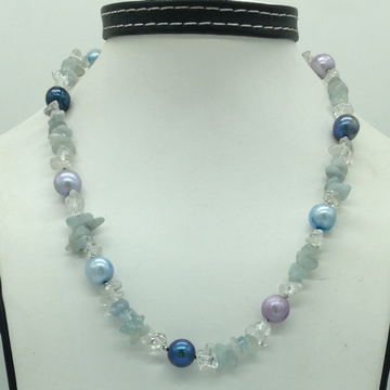 Freshwater Multicolour RoundPearls with Aquamarin...