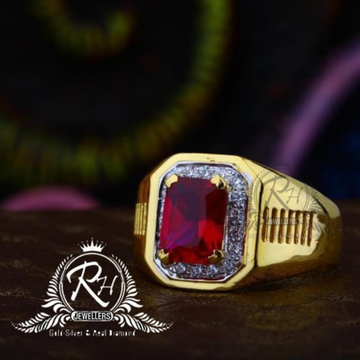22 carat gold red stone gents rings RH-GR844