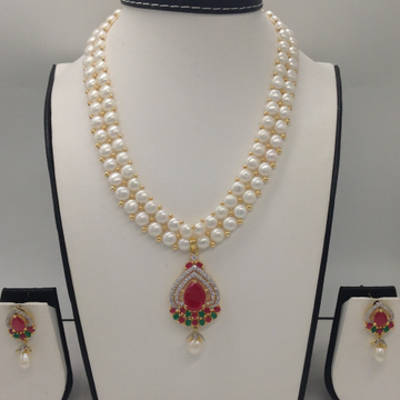Tri ColourCZ And Pearls PendentSet With 2Line ButtonJali Pearls Mala JPS0265