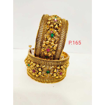 Antique gold plated flower work kada with pink and green stone & screw openable kada 1208