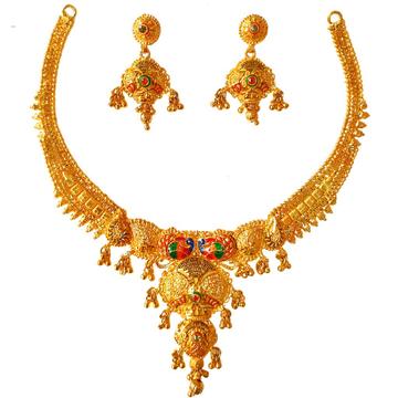 1 Gram Gold Forming Peacock Shaped Meenakari Necklace Set MGA - STE0109