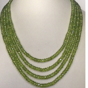 Natural parrot green peridot round faceted beeds 4 layers necklace