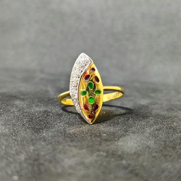 22k Ladies Fancy Meena Gold Ring-17031