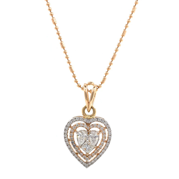 Heart Shaped Diamond Pendant in 18k Rose Gold 9SHP10