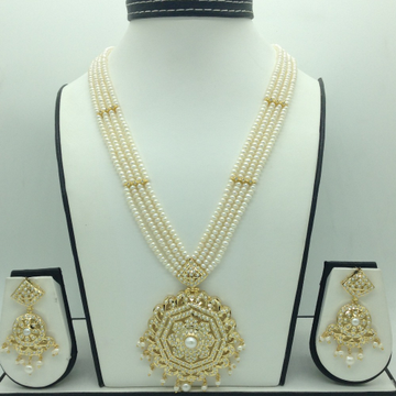 Natural Pearls RanihaarSet With 4Line FlatPearl...
