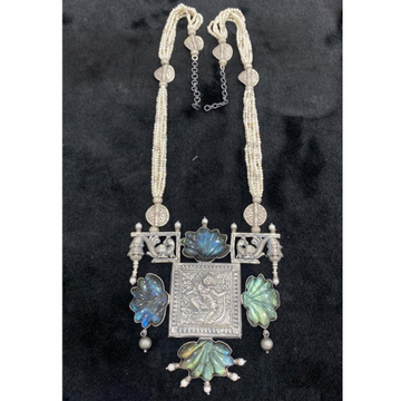 Pure Silver Temple long OTP set With Real Gems By Puran