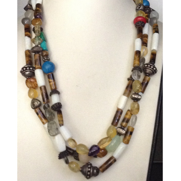 Natural Tigerstone Oval drums 3 Layers Necklace with Silver balls