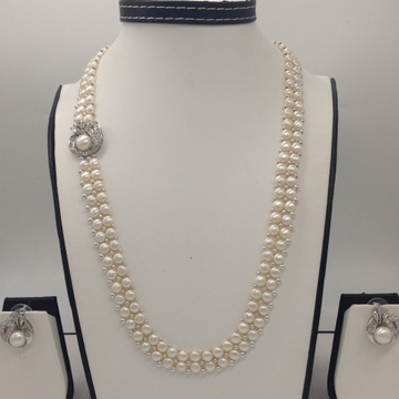 White CZ And Pearls BroachSet With 2Line ButtonJali Pearls Mala JPS0229