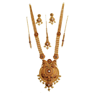 22k Gold Antique Complete Bridal Necklace Set MGA - GLS080
