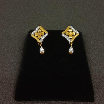 916 Gold Fancy CZ Diamond Earring MJ-E013