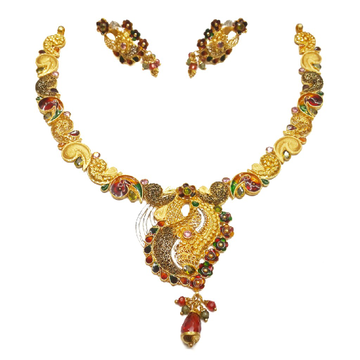 916 Gold Multi Meenakari Flower Shaped Necklace Set MGA - GN066