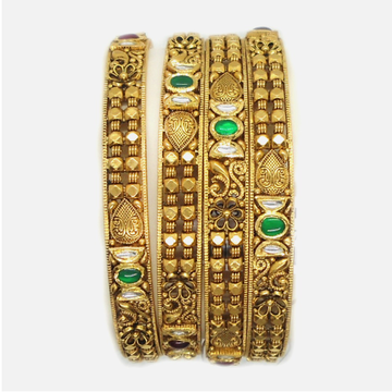 22K Gold Antique Bridal Bangles RHJ-4906