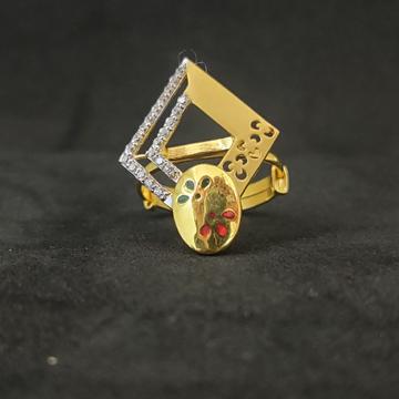 22Kt Designer Outwear Women's Matt Finish Gold Ring-15037