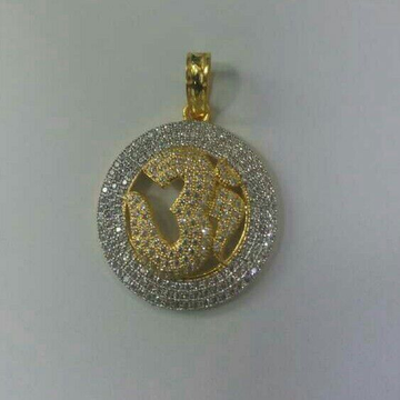 22K / 916 Yellow Gold CZ Om Pendant