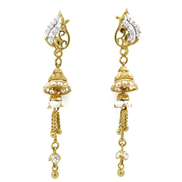 22K gold cz stone fancy hanging earring by