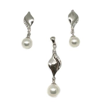 925 sterling silver pearl pendant set mga - pts0079