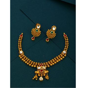 916 cz  wedding wear Antique gold hallmark necklace set