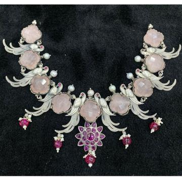 Hallmark silver peacock motif gemstone necklace by...