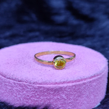 22KT/916 Yellow Gold Real  Pokhraj  Delicate Ring For Women
