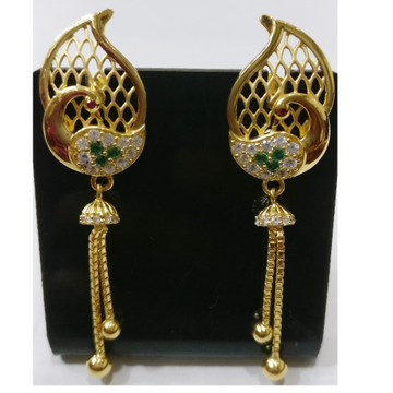 22kt gold cz casting peacock design earrings with chain tassels