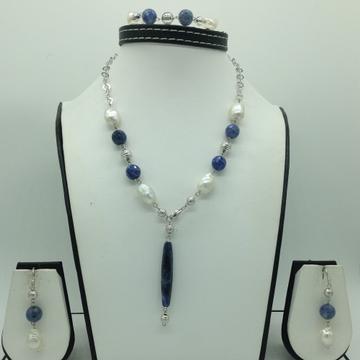 Freshwater WhitePearls and Lapis LazuliSilver Necklace Set JNC0080