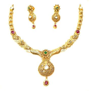 916 gold antique necklace set mga - gn016