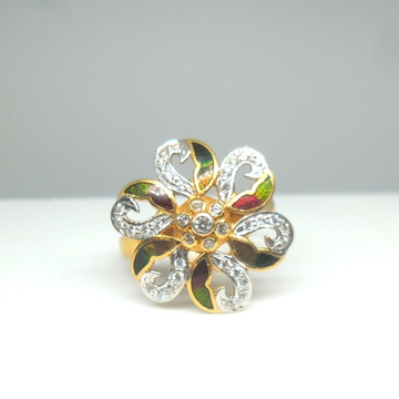 22KT / 916 Gold Flower shape CZ Ring For Ladies LR... by