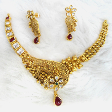 916 Gold Antique Bridal Necklace Set RHJ-5585