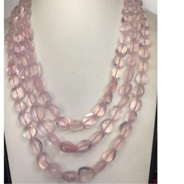 Natural Pink Rose Quartz Oval Tumbles 3 Layers Necklace