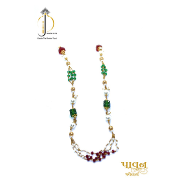 22KT / 916 Gold 3 lines Colorful stone with white moti mala for Women CHG0314