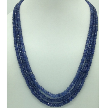 Natural Blue Sapphires Round Faceted 3Layers Neck...