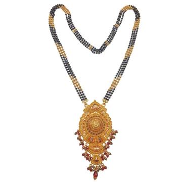 22k Gold Cross Black Beads Kalkatti Mangalsutra MGA - GM028