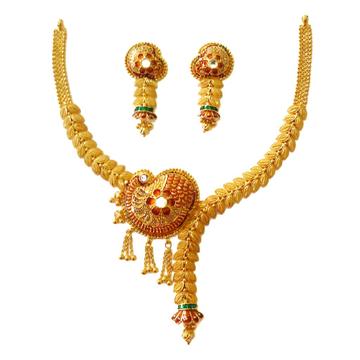 916 Gold Modern Designer Art Necklace Set MGA - GN...