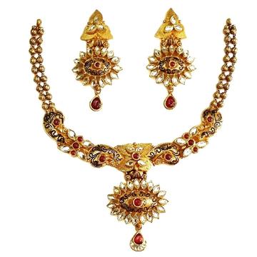 22k gold antique oxidised designer necklace set mga - gn074