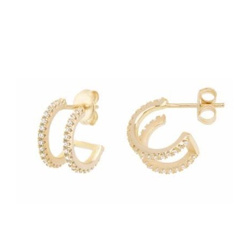 22kt, 916 Hm, Yellow Gold basket double line C earrings Jke108.