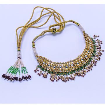 916 gold jadtar multi stone necklace agj-n-01