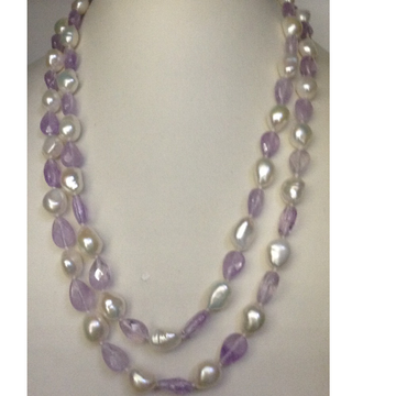 Freshwater White Oval Baroque Pearls Long Knotted...