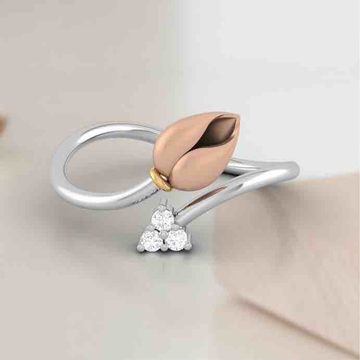 18KT Gold Attractive Real Diamond Rose Ring