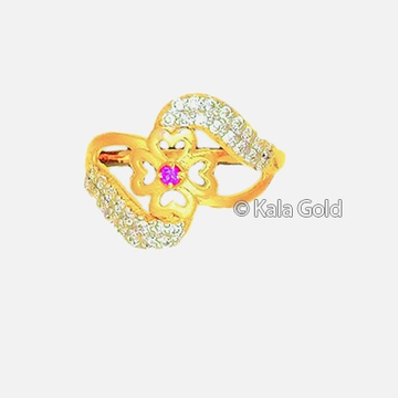 22KT CZ Flower Shaped Diamond Ladies Ring