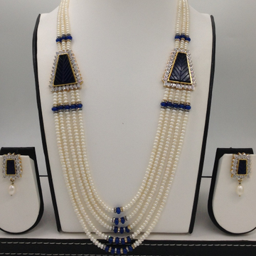 White cz and blue semi precious stone broach set with 5 lines flat pearls mala jps0440
